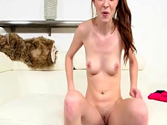 Tiny Teen shows off her little pussy