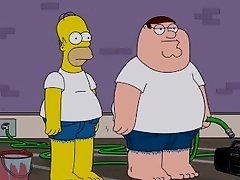 Homer Simpson and Peter Griffin Sexy Car Wash