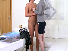 Female agent and lesbian model fingering