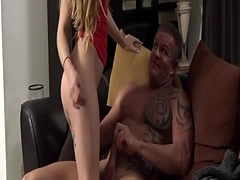 Beautiful blonde babe gets fucked by an older guy in her favorite posi
