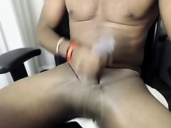Pantyhose Stroke and Cum in the hotel