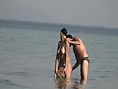 Voyeur Camera At Public Beach Films Breasty Girlfriend Cleaning Up