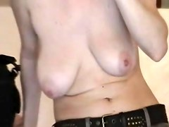 Busty blonde MILF gets her tits exposed in voyeur private video