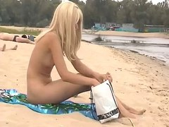 Stripped Beach - Cute tall Blonde