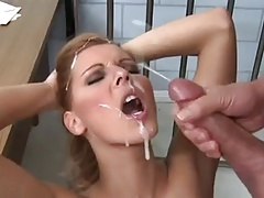 Really cum plastering her face good