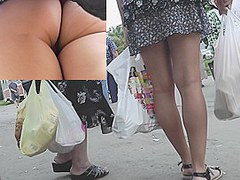 Good stripped butt on windblown upskirt movie scene