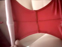 Hidden cam toilet video with female in red panty