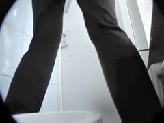 Toilet spy cam shooting leggy doll with hot butt pissing