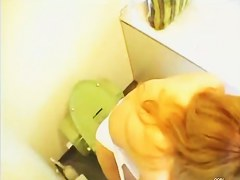 A ginger girl likes peeing naked to a toilet spy voyeur