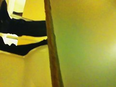 I put my cam above the wall and shot girl pissing in toilet
