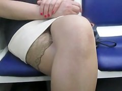 Flashing nylons tops in a teach