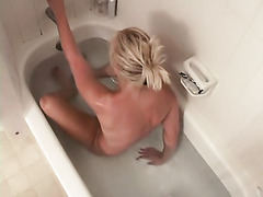 Voyeur clip with busty blonde