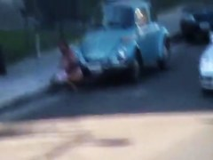 Candid voyeur clip with amateur that pissed on the road