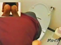 Toilet spy cam porn with girl petting tits and pussy