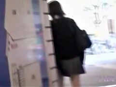 Japanese college girl with short skirt fucks her bun at home