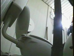 Two hot ass slits voyeured on the toilet spy camera