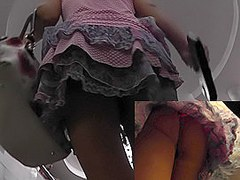 Sexy girl in hot skirt became a star of upskirt clip