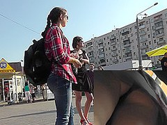 Amazing upskirt video with skinny brunette dame
