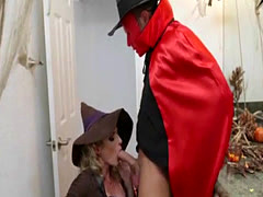 Milf Cory initiates halloween sex party