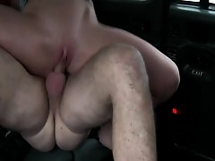 Beautiful amateur passenger gets nailed by the driver