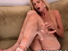 Hot and Horny Blonde Tearing Up Her Pantyhose