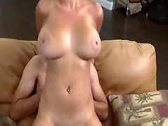 Busty blonde mops then rides cock